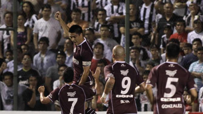 Goltz of Argentina's Lanus celebrates after scoring a goal against Paraguay's Libertad during their Copa Sudamericana semifinal soccer match in Asuncion