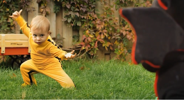 A kung fu baby became a YouTube sensation after demonstrating his 'Kill Bill' skills. Romeo Elvis Bulte Boivin slays his deadly stuffed dragon nemesis in a minute long video captured by his fa