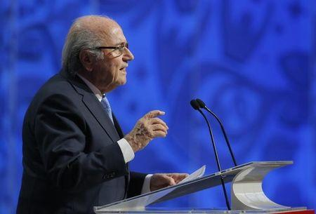 FIFA President Blatter addresses during the preliminary draw for the 2018 FIFA World Cup at Konstantin Palace in St. Petersburg