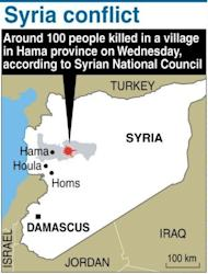 """Graphic showing Hama province in Syria where about 100 people were killed in a """"massacre"""" Wednesday, according to the opposition Syrian National Council. A regional group led by Russia and China said it opposed military intervention in the Middle East, a day after the assault"""