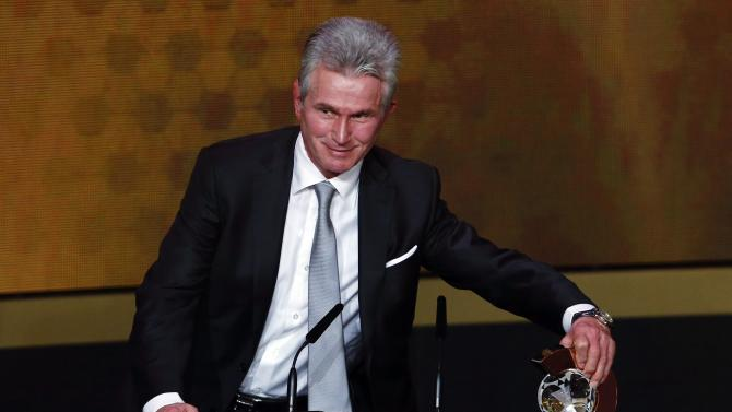 Former Bayern Munich coach Jupp Heynckes speaks after winning the FIFA Coach of the Year award during the FIFA Ballon d'Or 2013 soccer awards ceremony in Zurich