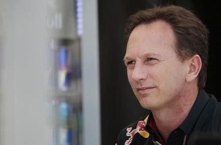 Red Bull Formula One team principal Christian Horner looks on at the team paddock before the first practice session of the Bahrain F1 Grand Prix at the Bahrain International Circuit (BIC) in Sakhir
