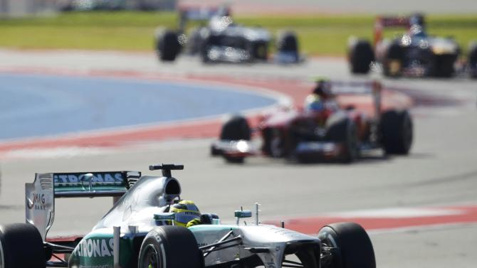 Nico Rosberg of Germany drives during the Austin F1 Grand Prix at the Circuit of the Americas in Austin