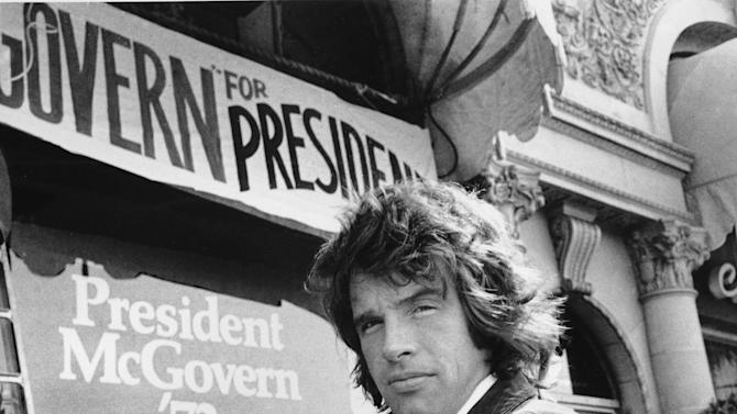 FILE - In this May 29, 1972 file photo, actor Warren Beatty stands outside the headquarters for Democratic presidential candidate, U.S. Sen. George McGovern in Beverly Hills, Calif. When McGovern, aided by party rules he helped revise, became the surprise contender in 1972, the left felt revived. Beatty was among the young Hollywood stars who backed McGovern. (AP Photo, File)