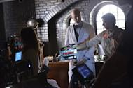 Exclusive Behind the scenes images from American Horror Story. Dr Arthur Arden played by James Cromwell is ready for his scene.
