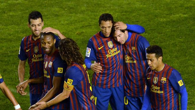 Barcelona's Argentinian Forward Lionel Messi (2R) Celebrates AFP/Getty Images