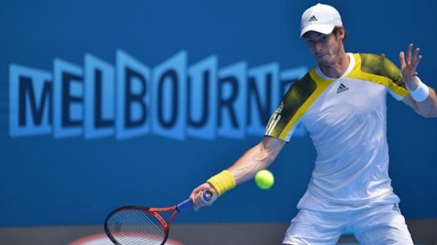 Andy Murray plays a shot during his second-round match against Joao Sousa at the Australian Open (AFP)
