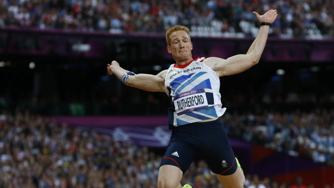 Britain's Greg Rutherford competes in the men's long jump final at the London 2012 Olympic Games at the Olympic Stadium