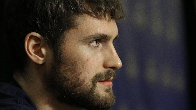 Minnesota Timberwolves' Kevin Love speaks during the NBA All Star basketball news conference, Friday, Feb. 14, 2014, in New Orleans. The 63rd annual NBA All Star game will be played Sunday in New Orleans