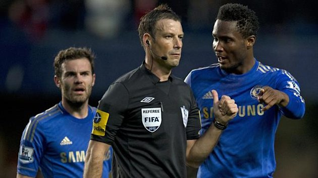 Juan Mata, Mark Clattenburg and John Obi Mikel, Chelsea v Manchester United, October 2012