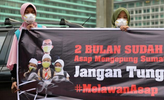 A rally in Jakarta on October 7, 2015 calls on the government to act to combat the haze caused by recent forest fires in Indonesia's Sumatra and Kalimantan