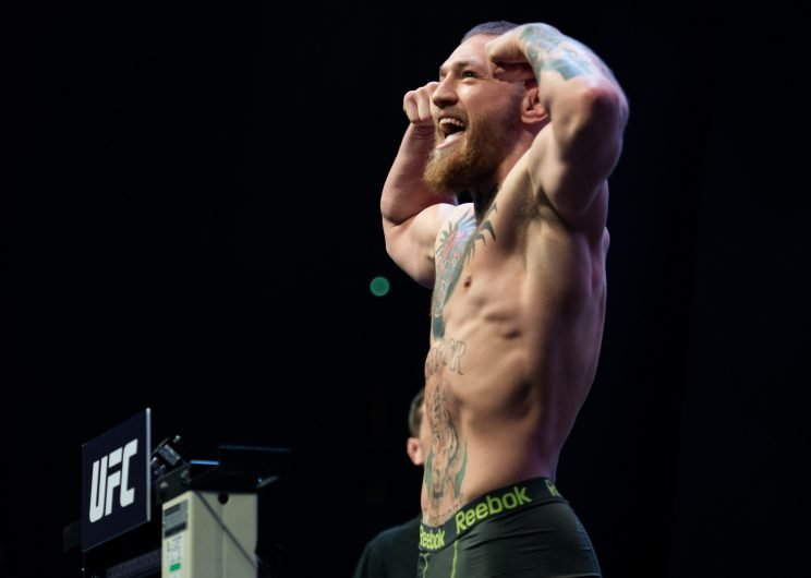 Conor McGregor plays to the crowd during the UFC 196 weigh-in on March 4, 2016 in Las Vegas, Nevada. (Getty Images)