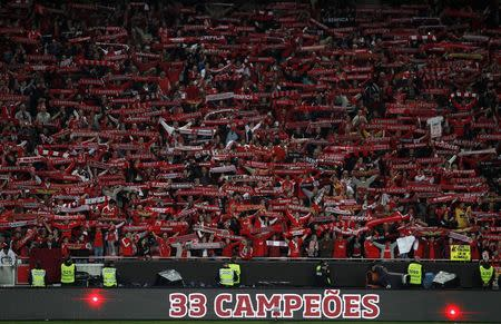 Benfica's supporters celebrate winning the Portuguese Premier League title after beating Olhanense at Luz stadium in Lisbon