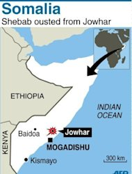 Map of Somalia locating Jowhar within the east African country. African Union troops and Somali forces seized the formerly Islamist-held town of Jowhar Sunday, wresting control of one of the largest remaining towns held by the Al-Qaeda linked Shebab, officials said.