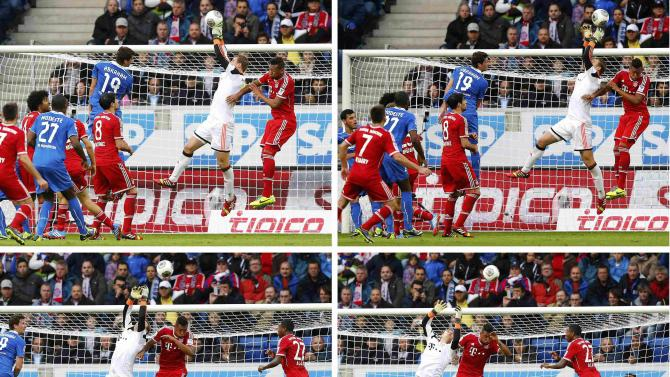 A combination of four pictures shows Bayern Munich's goalkeeper Neuer losing control of the ball prior to TSG Hoffenheim's goal during their German first division Bundesliga soccer match in Sinsheim