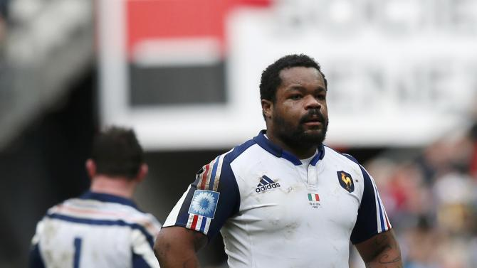 France's Mathieu Bastareaud reacts during his Six Nations rugby union match against Italy at the Stade de France in Saint-Denis