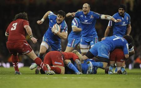 Italy's Marco Bortolami runs at the Welsh defence during the Six Nations Championship rugby union match at the Millennium Stadium, Cardiff