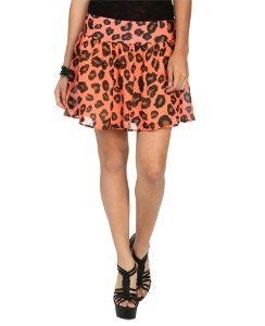 Coral Animal Print Mini Skirt