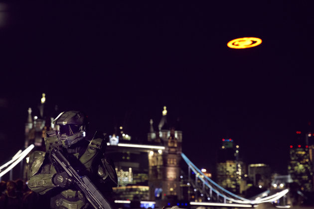 The Glyph - actually a three-tonne LED - flew over London last night (Image: Microsoft)