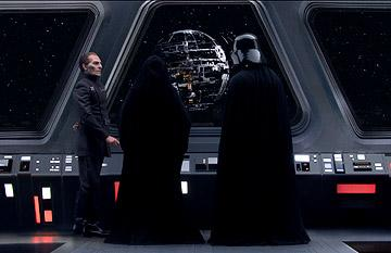 Wayne Pygram as Tarkin, Ian McDiarmid as Emperor Palpatine and Hayden Christensen as Darth Vader in 20th Century Fox's Star Wars: Episode III
