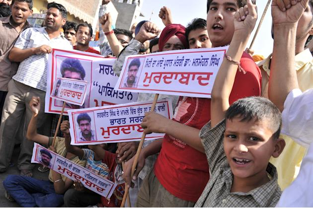 Protests in Sarabjit's native village