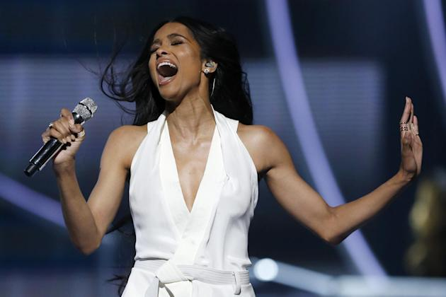 Singer Ciara performs during a taping of the Black Girls Rock award ceremony at the New Jersey Performing Arts Center, Saturday, March 28, 2015, in Newark, N.J. United States First Lady Michelle Obama