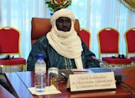 "The leader of the delegation representing the MNLA Tuareg rebellion, Mahamadou Dieri Maiga, attends a mediation meeting with members of the Malian government and the islamist Ansar Dine group. Mali government officials met with two armed groups for the first time Tuesday in a landmark encounter that saw the rebels pledge to respect the country's territorial integrity and root out ""terrorism""."