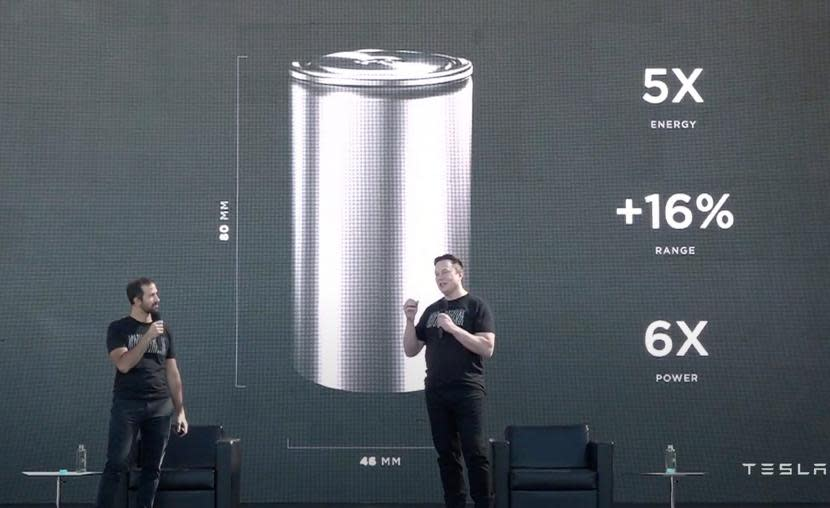 特斯拉全新 46800 電池發表!5 倍能量、16% 續航里程提升、生產成本降低 14%