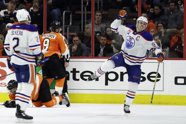 Edmonton Oilers' Connor McDavid (97) reacts after scoring a goal during the second period of an NHL hockey game against the Philadelphia Flyers, Thursday, Dec. 8, 2016, in Philadelphia. (AP Photo/Matt Slocum)