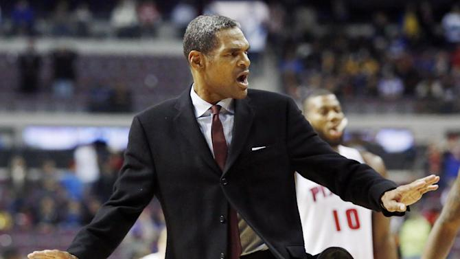 Detroit Pistons coach Maurice Cheeks motions to calm his team in the fourth quarter of an NBA basketball game against the Indiana Pacers Tuesday, Nov. 5, 2013, in Auburn Hills, Mich. The Pacers defeated the Pistons 99-91