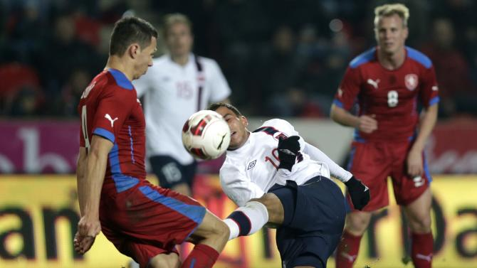 Czech Suchy and Norway's Elabdellaoui figh for the ball during their international friendly soccer match in Prague