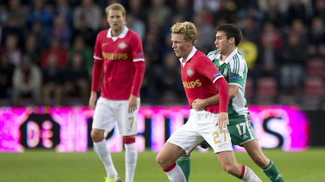 PSV's Oscar Hiljemark of Sweden, second right, and Ludogorets' Dani Abalo of Spain, right vie for the ball as PSV's Ola Toivonen of Sweden, left, watches during the Group B Europa League soccer match between PSV Eindhoven and Bulgaria's PFC Ludogorets Razgrad in Eindhoven, Netherlands, Thursday, Sept. 19, 2013