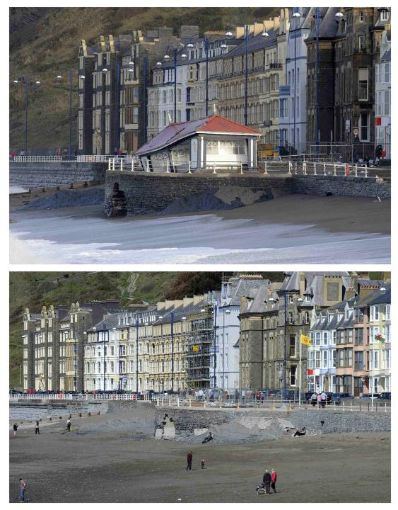 A combination picture shows the promenade in Aberystwyth, damaged during severe weather and after it was repaired