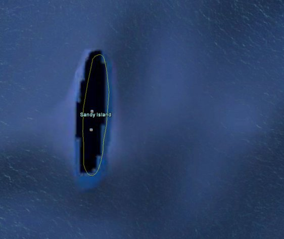 A view on Google Earth of the phantom Sandy Island.