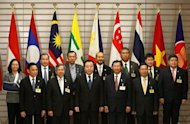 "Japan's Prime Minister Yoshihiko Noda (front C) and economic ministers from members of the Association of Southeast Asian Nations (ASEAN) pose for a photograph at the start of their meeting as part of a four-day ""ASEAN Road Show"" at Noda's official residence in Tokyo. Southeast Asian and European foreign ministers meet in Brunei on Friday to chart a ""new chapter"" in their relations"