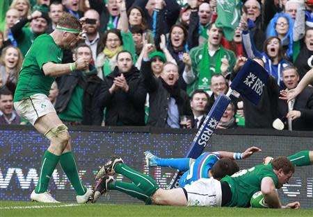 Ireland's Sean Cronin scores a try against Italy in the Six Nations rugby union match at Aviva stadium in Dublin