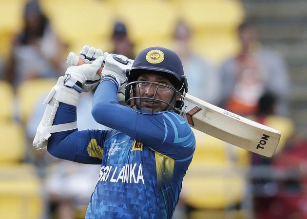Sri Lanka's Sangakkara plays a shot during their Cricket World Cup match against England in Wellington