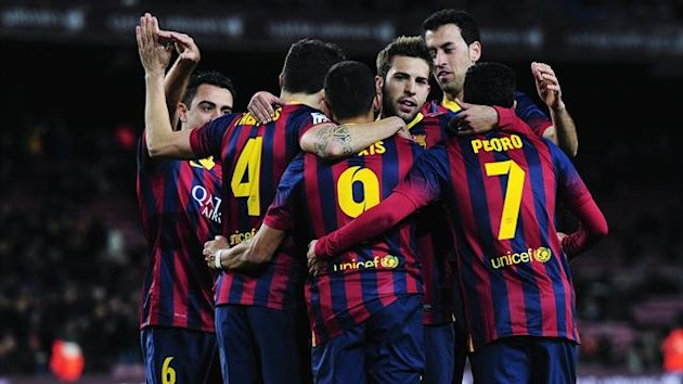 Barcelona players celebrate a goal against Real Sociedad in the Copa Del Rey (AFP)