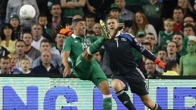 Republic of Ireland's Jonathan Walters scores but the goal is disallowed