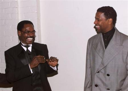 ACTOR DENZEL WASHINGTON AND RUBIN CARTER AT PREMIERE.