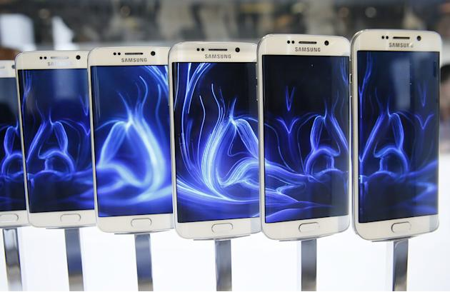 File photo of a row of Galaxy S6 edge smartphones on display after the Samsung Galaxy Unpacked event in Barcelona