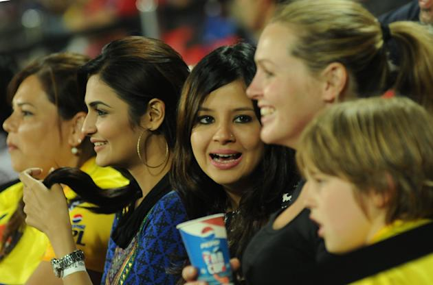 Sakshi Dhoni with friends during Chennai Super Kings' match against the Delhi Daredevils held at the Feroz Shah Kotla Stadium, Delhi on the 18th April 2013. Photo by Arjun Panwar-IPL-SPORTZPICS