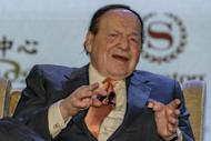 Las Vegas casino boss Sheldon Adelson pictured during a press conference in Macau on September 20, 2012. US firm Las Vegas Sands, run by US billionaire Adelson, said that it will go ahead with the contruction of a vast casino project near Madrid six years after unveiling the contested project which could create up to 200,000 jobs
