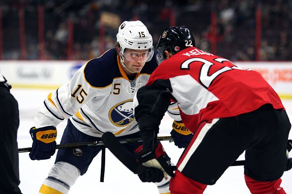 07 October 2016: Jack Eichel (15) and Chris Kelly (22) square off on the draw during a pre-season game between the Sabres and Seantors at Canadian Tire Centre in Ottawa, On. (Photo by Jay Kopinski/Icon Sportswire via Getty Images)