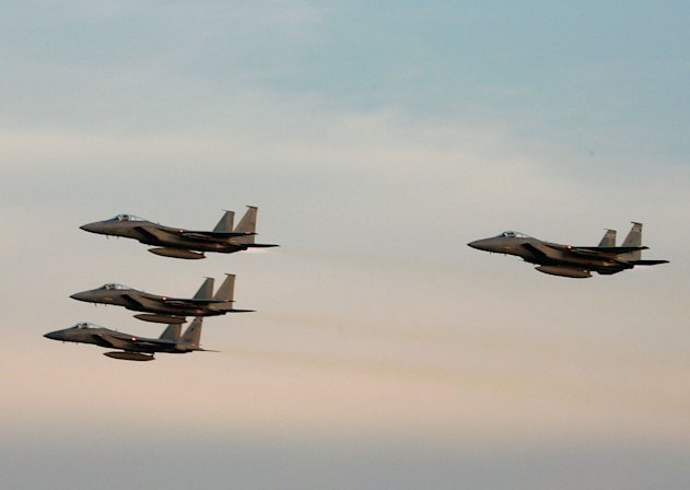 Stock image of F-15 fighter jets. (Photo by Jerry Markland/Getty Images for NASCAR)