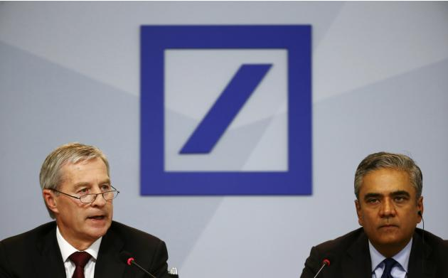 Jain and Fitschen, co-CEOs of Deutsche Bank, attend a news conference in Frankfurt