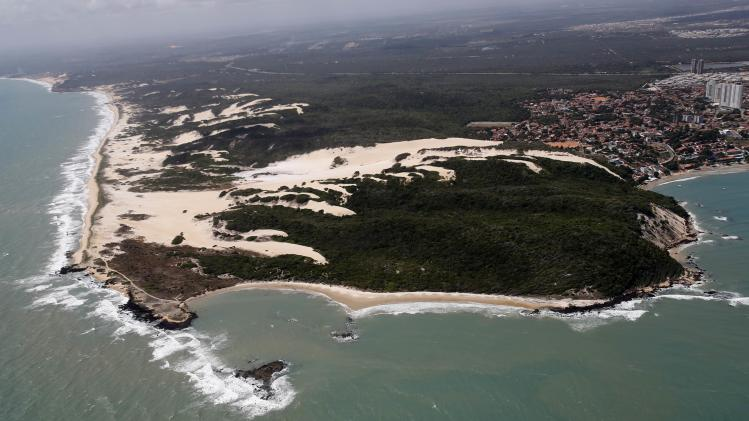 An aerial view shows Cotovelo beach in Natal