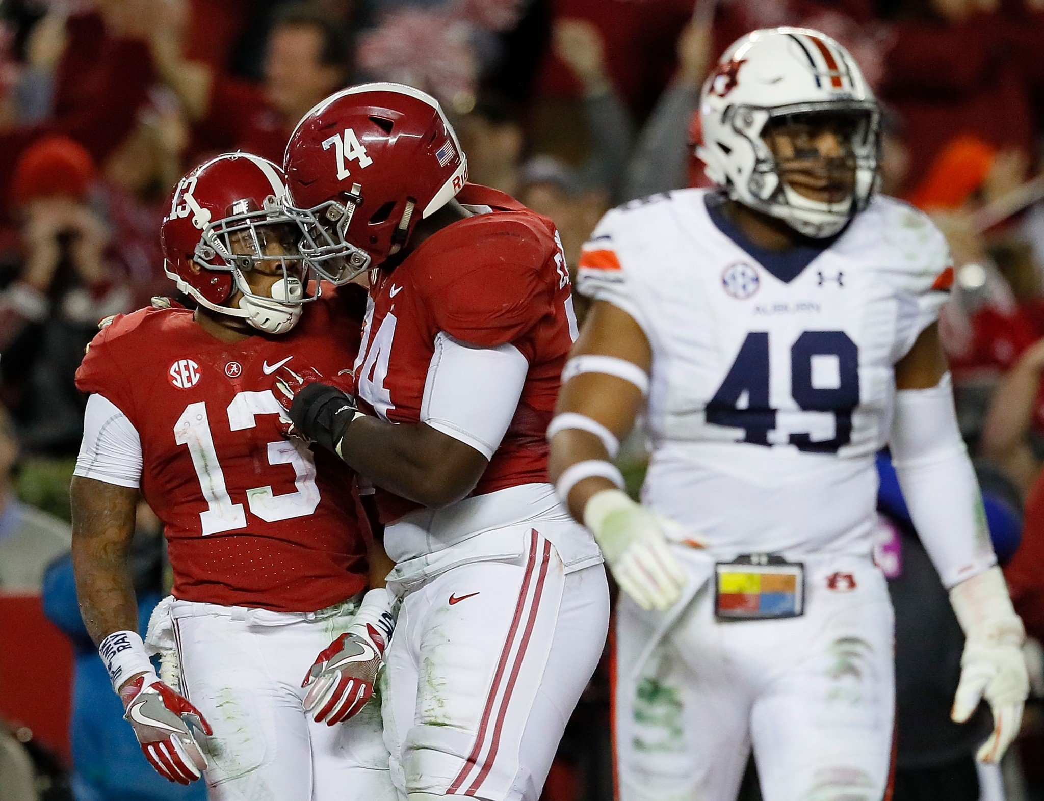 Alabama WR ArDarius Stewart (13) and OT Cam Robinson (74) are heading to the NFL. (Getty)