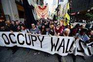 Occupy Wall Street participants march down Fifth Avenue as part of May Day events in New York in 2012. A New York judge Monday ordered Twitter to turn over data on one of its users involved in the Occupy Wall Street protest movement, in a case watched closely as a test of online freedom of speech