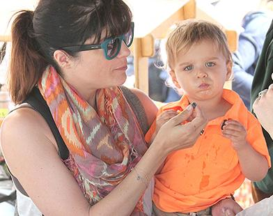 Selma Blair & Son Arthur At The Farmers Market